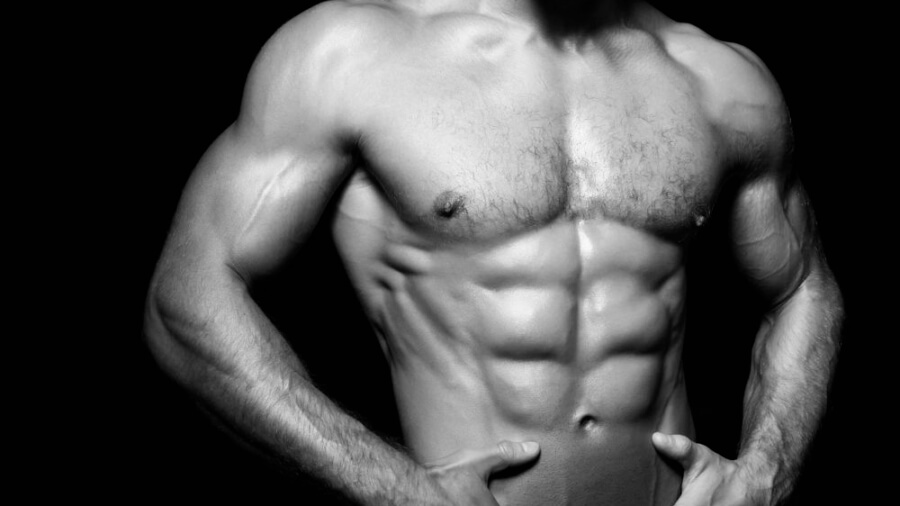 man-abs-lean-black-background-shirtless-compressor